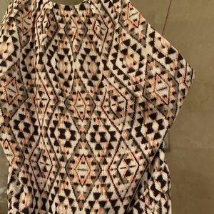 NWOT Joie Agua Silk Maxi Dress 6 Ikat Brown Orange